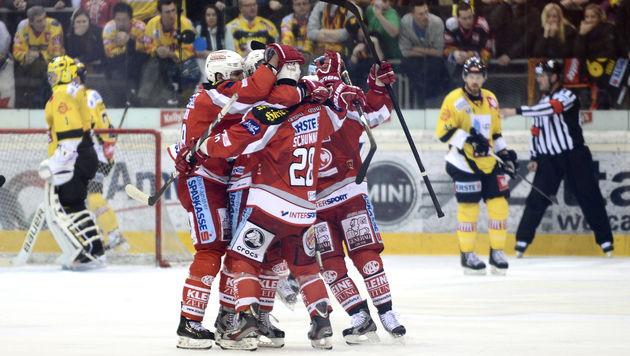 """KAC gewinnt erstes Finalspiel gegen """"Caps"""" mit 1:0 (Bild: APA/HERBERT NEUBAUER)"""