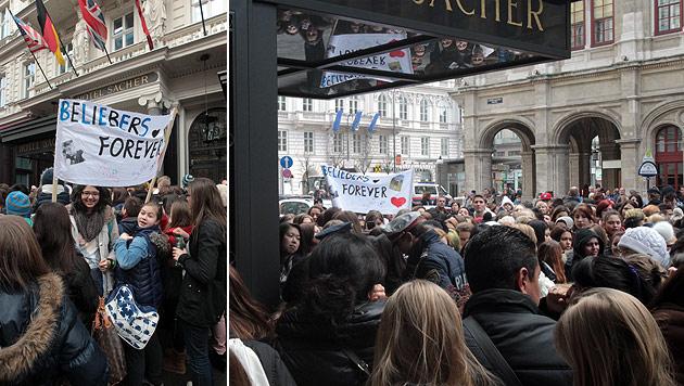 """Bieber-Fans belagern Hotel """"Sacher"""" in Wien (Bild: Kristian Bissuti)"""