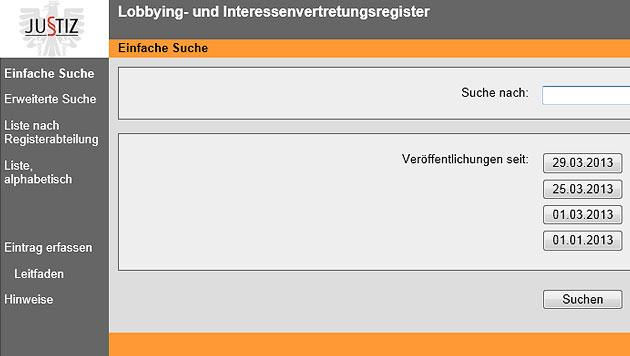 93 Eintragungen im Lobbying-Register, Anwälte zieren sich (Bild: Screenshot)