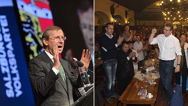 Wahlkampfstart der ÖVP und FPÖ mit kämpferischem Ton (Bild: APA/NEUMAYR/SUSI BERGER, APA/BARBARA GINDL)