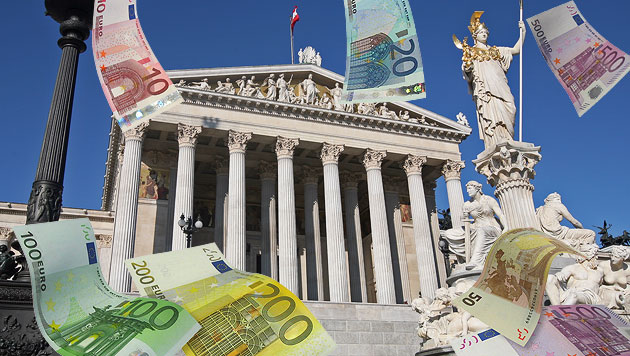 Aufstand gegen teuren Umbau des Parlaments (Bild: Klemens Groh, thinkstockphotos.de, krone.at-Grafik)
