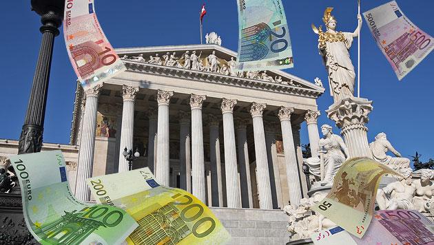 Für die Parteien geht es bei der Wahl um viel Geld (Bild: Klemens Groh, thinkstockphotos.de, krone.at-Grafik)