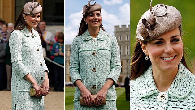 Herzogin Kate zeigt allen ihr rundes Babyglück (Bild: AFP)