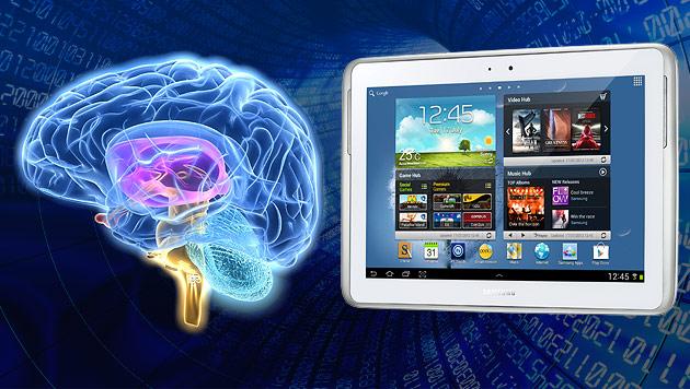 Samsung forscht an Gedankensteuerung für Tablets (Bild: thinkstockphotos.de, Samsung, krone.at-Grafik)