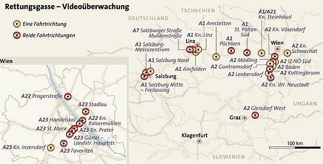Rettungsgasse: 49 Hotspots werden videoüberwacht (Bild: APA/HELMUT FOHRINGER)