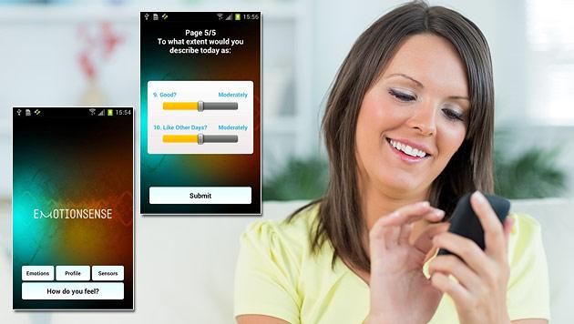 Neue Handy-App soll Stimmung des Nutzers erraten (Bild: thinkstockphotos.de, Google Play Store, krone.at-Grafik)