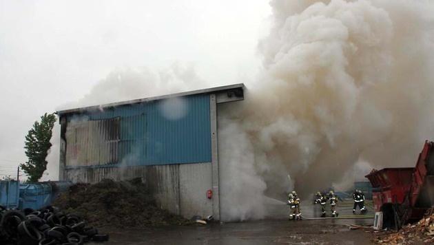 Großeinsatz für Feuerwehr in Linzer Recyclingfirma (Bild: APA/BERUFSFEUERWEHR LINZ)
