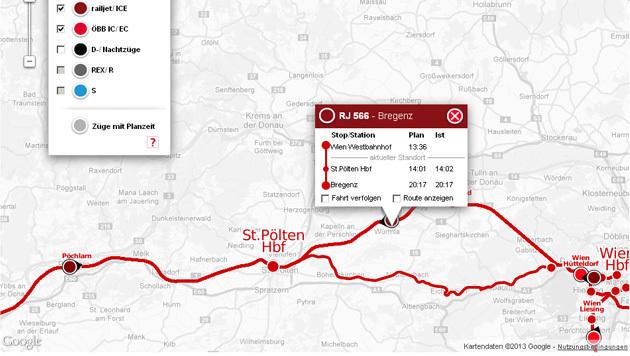 Zugradar der ÖBB zeigt alle Infos zu Zügen in Echtzeit (Bild: Screenshot, zugradar.oebb.at)