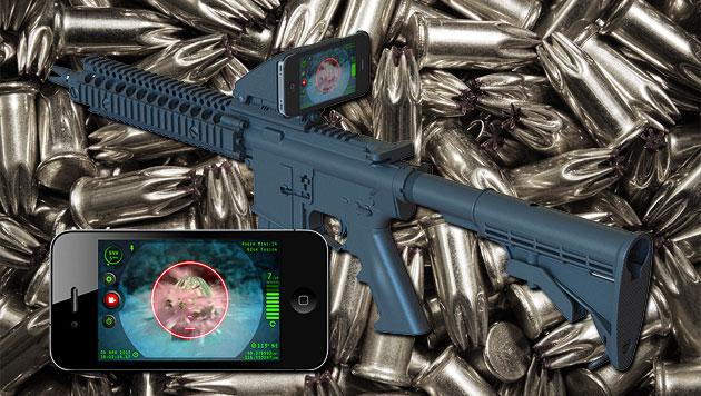 US-Firma baut iPhone-Halterung für Sturmgewehre (Bild: Inteliscope, thinkstockphotos.de, krone.at Grafik)