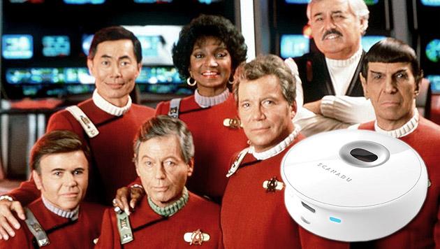 """""""Star Trek"""" wird Wirklichkeit: Start-up baut Tricorder (Bild: Scanadu , Paramount/ts, krone.at Grafik)"""