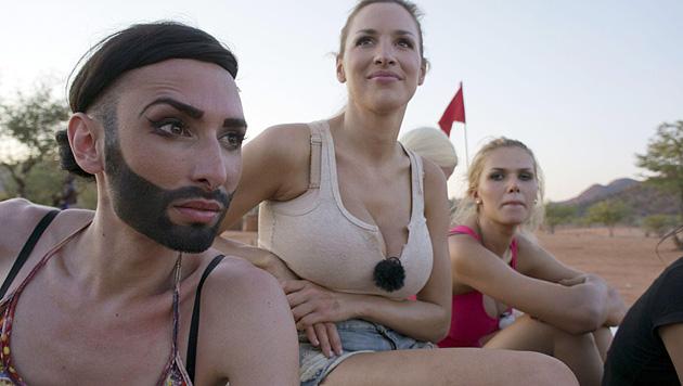Für Conchita ging es beim Dreh um die Wurst (Bild: RTL/Stefan Menne)