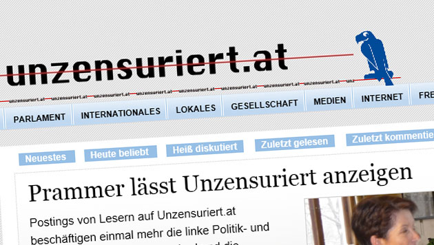 Parlamentsdirektion zeigt FPÖ-nahe Website an (Bild: Screenshot unzensuriert.at)