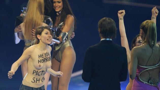 """Nackt-Aktivistinnen gegen """"Heidi Horror Picture Show"""" (Bild: AFP)"""