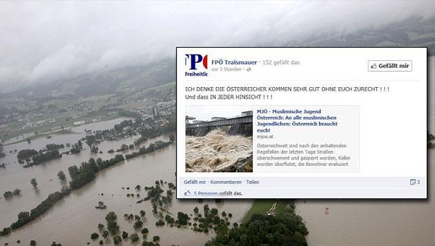 Fremdenfeindliches Flut-Posting der FPÖ sorgt für Wirbel (Bild: APA/LANDESPOLIZEIDIREKTION, Screenshot Facebook)