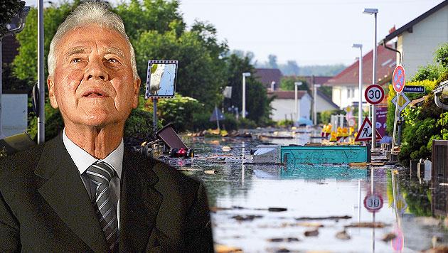 Stronach spendet eine halbe Million Euro für Flutopfer (Bild: DPA/Marius Becker, APA/HELMUT FOHRINGER, krone.at-Grafik)