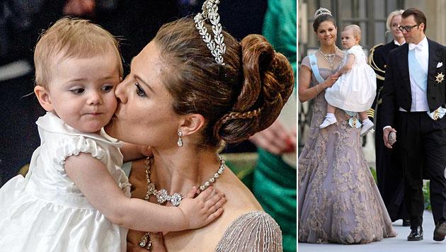 Prinzessin Estelle war der heimliche Star bei der Trauung (Bild: AP, EPA)