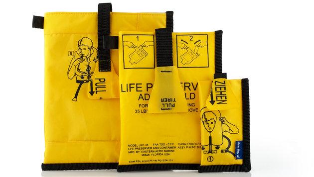 Handy- und Tablet-Hüllen aus Airline-Schwimmwesten (Bild: ïB02ug-zeug.at)