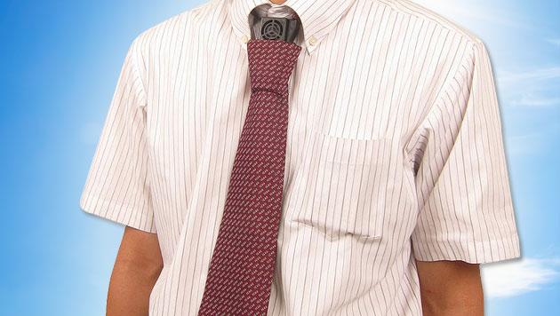 Hightech-Krawatte kühlt japanische Geschäftsmänner (Bild: Thanko, thinkstockphotos.de, krone.at-Grafik)