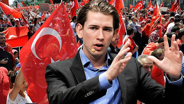 "Kurz-Appell an Türken: ""Konflikte nicht hereintragen"" (Bild: APA/HERBERT NEUBAUER, APA/HANS PUNZ, krone.at-Grafik)"