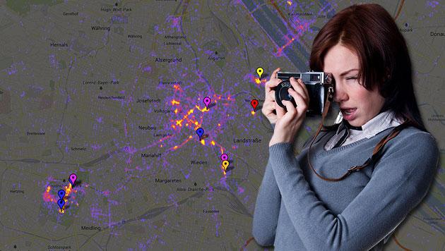 Website verrät Foto-Hotspots und Sehenswürdigkeiten (Bild: Screenshot sightsmap.com, thinkstockphotos.de, krone.at-Grafik)