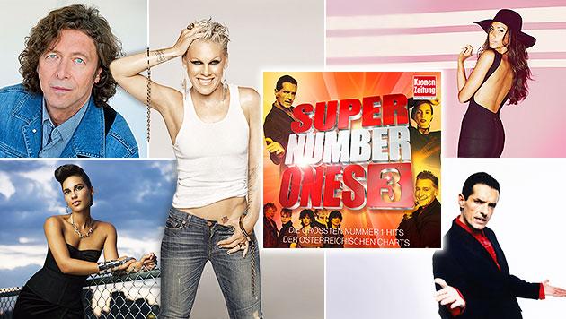 """Feiern Sie mit den """"Krone Super Number Ones 3"""" (Bild: Sony Music, krone.at-Grafik)"""