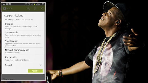 Schnüffel-App von Samsung erbost Jay-Z-Fans (Bild: CHARLES SYKES/INVISION/AP, Screenshot Twitter, krone.at-Grafik)