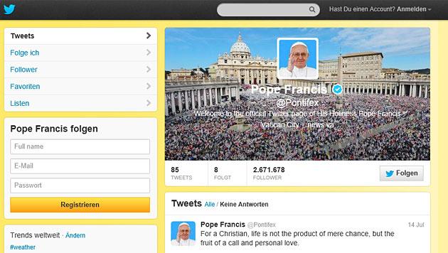 Franziskus begeistert als Twitter-Papst (Bild: Screenshot Twitter)