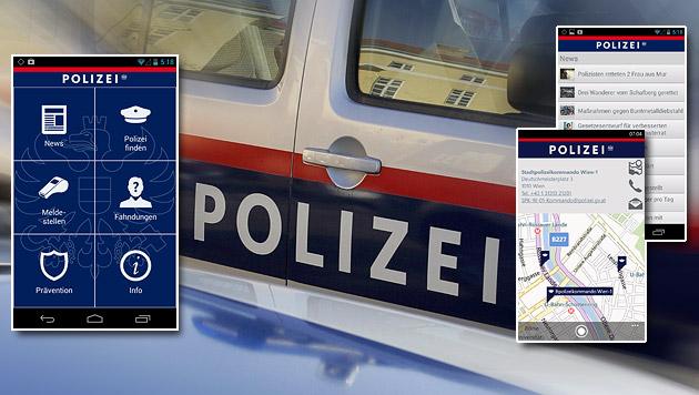 """Heimische Polizei fahndet nun via """"Sicherheits-App"""" (Bild: Klemens Groh, play.google.com, krone.at-Grafik)"""