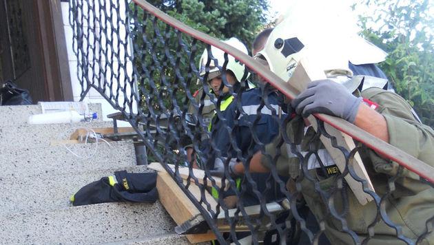 NÖ: Pensionistin mit Kopf unter Geländer eingeklemmt (Bild: Feuerwehr Langenlois/Karl Huber)