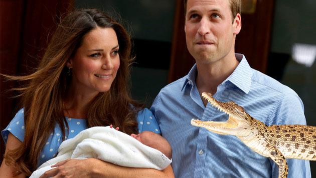 Kleiner Prinz George bekam ein Krokodil aus Australien (Bild: AP, Facebook, krone.at-Grafik)