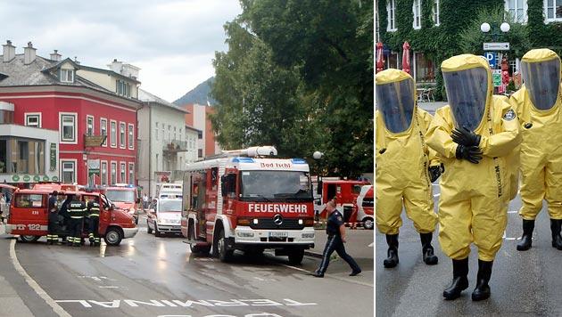 Großeinsatz in OÖ: Chlorgas in Freibad ausgetreten (Bild: APA/FF BAD ISCHL)