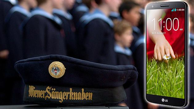 "LG enthüllt sein ""Sängerknaben-Smartphone"" G2 (Bild: LG, APA/BARBARA GINDL, krone.at-Grafik)"