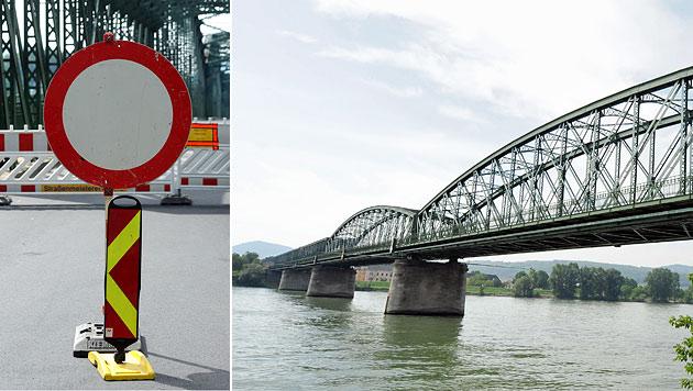 Donaubrücke Mautern durch Hitze schwer beschädigt (Bild: APA/HERBERT PFARRHOFER)