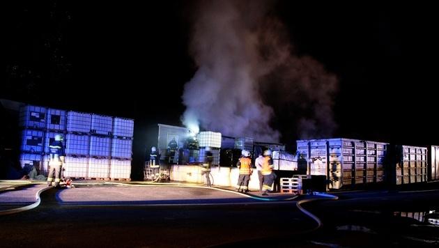 Einsatzkräfte stellten sich meterhoher Flammenwand (Bild: FF KREMS/M.WIMMER)