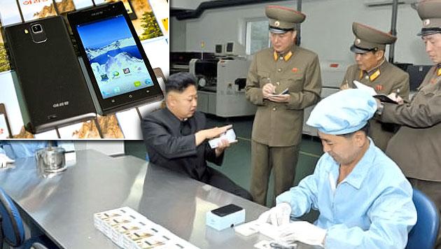 Kims Nordkorea baut jetzt Smartphones (Bild: KCNA, krone.at-Grafik)