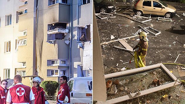 OÖ: Gasexplosion fordert 12 teils schwer Verletzte (Bild: APA/WERNER KERSCHBAUMMAYR, APA/BERUFSFEUERWEHR LINZ)