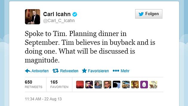 US-Investor Icahn trifft sich mit Apple-Chef Cook (Bild: Screenshot Twitter)
