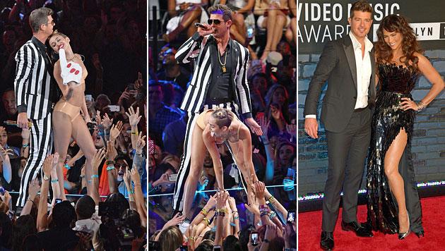 Robin Thicke nach Mileys Nacktauftritt gefrustet (Bild: AFP, AP)