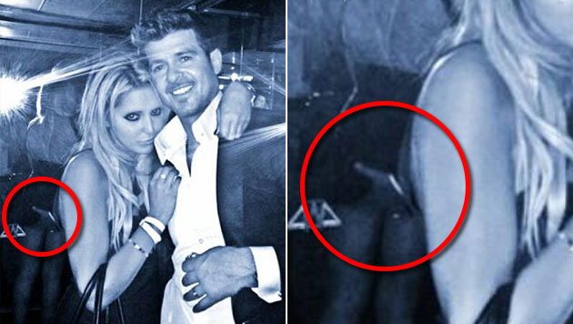 Hier grapscht Robin Thicke einem Fan an den Po (Bild: Twitter, krone.at-Grafik)