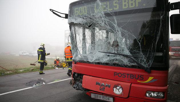 Klein-Lkw prallt gegen Linienbus - vier Verletzte (Bild: laumat.at/Matthias Lauber)