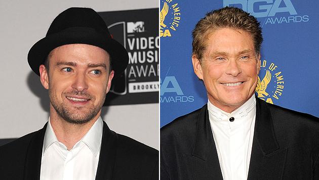 Timberlake macht sich über David Hasselhoff lustig (Bild: AP)