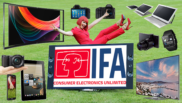 4K, Phablets & Co: Die Trends der IFA in Berlin (Bild: IFA, Sony, Samsung, Acer, LG, krone.at-Grafik)