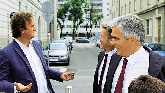 """Auf """"Wahlfahrt"""" mit Bundeskanzler Werner Faymann (Bild: Simon Mark)"""