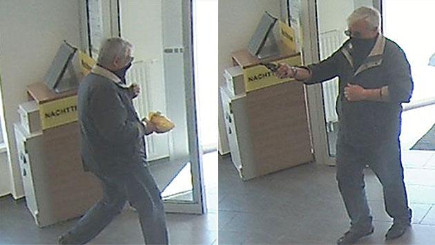 Bankräuber bedroht Angestellte mit Pistole (Bild: Polizei)