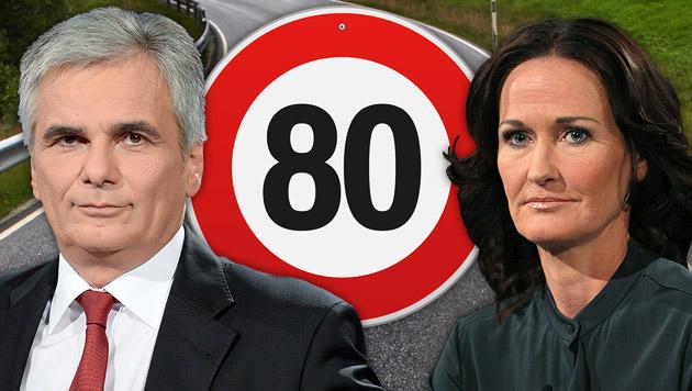 Rot und Grün im Clinch um Tempo-80-Forderung (Bild: APA/HERBERT NEUBAUER, ORF/Milenko Badzic, thinkstockphotos.de)