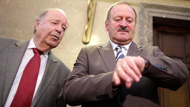 Hubert Gorbach (rechts) macht wieder von sich reden. (Bild: APA/Georg Hochmuth)