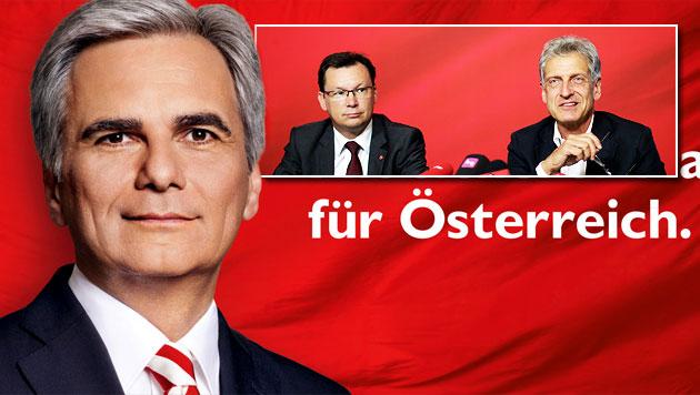 SPÖ zahlt Plakate nun aus eigener Tasche (Bild: APA/SPÖ, APA/GEORG HOCHMUTH, krone.at-Grafik)
