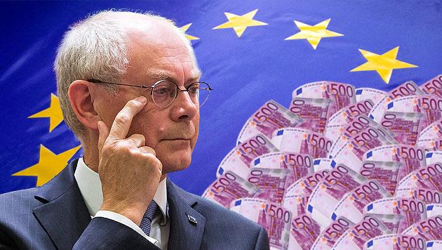 "Van Rompuy sorgt mit ""Luxuspension"" f�r Emp�rung (Bild: EPA, thinkstockphotos.de, krone.at-Grafik)"