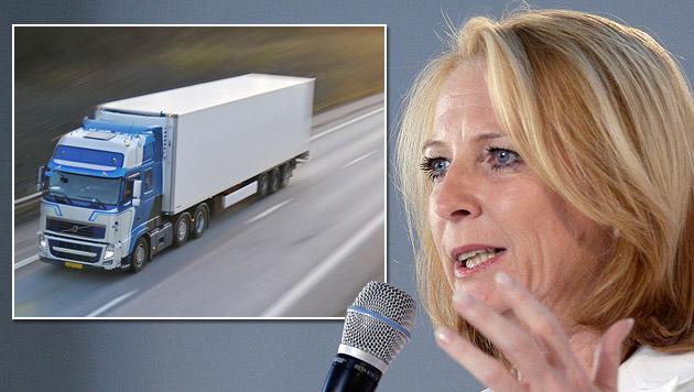 Bures will Lkws von linker Autobahnspur verbannen (Bild: thinkstockphotos.de, APA/GEORG HOCHMUTH, krone.at-Grafik)