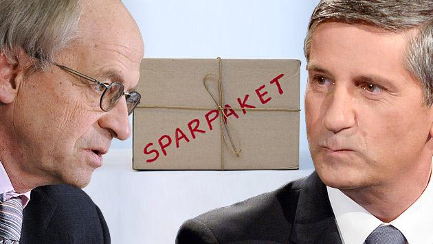 Hypo-Desaster: Debatte um neues Sparpaket (Bild: APA, dpa, krone.at-Grafik)